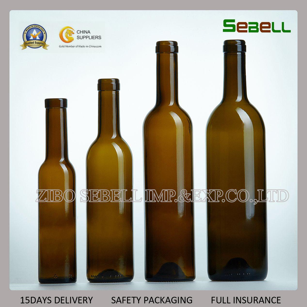 200ml Empty Cork Top Dark Green Red Wine Glass Bottle (NA-015)