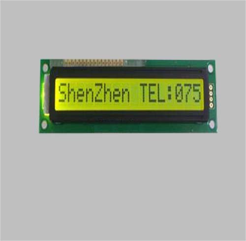 16X1 Character LCD Module Display with Yellow Green Background