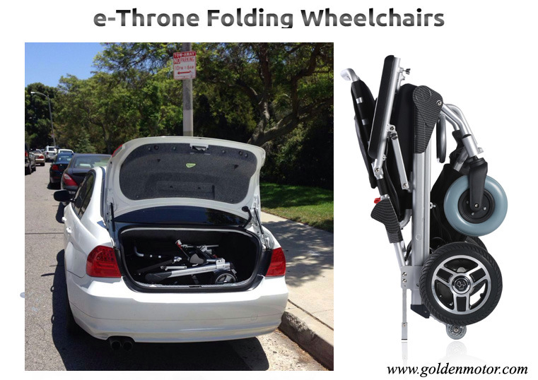 Golden Motor 8′′, 10′′, 12′′ E-Throne Brushless Electric Folding /Portable Motorized Wheelchairs with LiFePO4 Battery