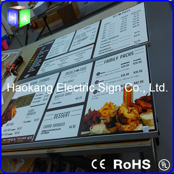 Aluminum Picture Frame for Menu Board with Light Guide Plate