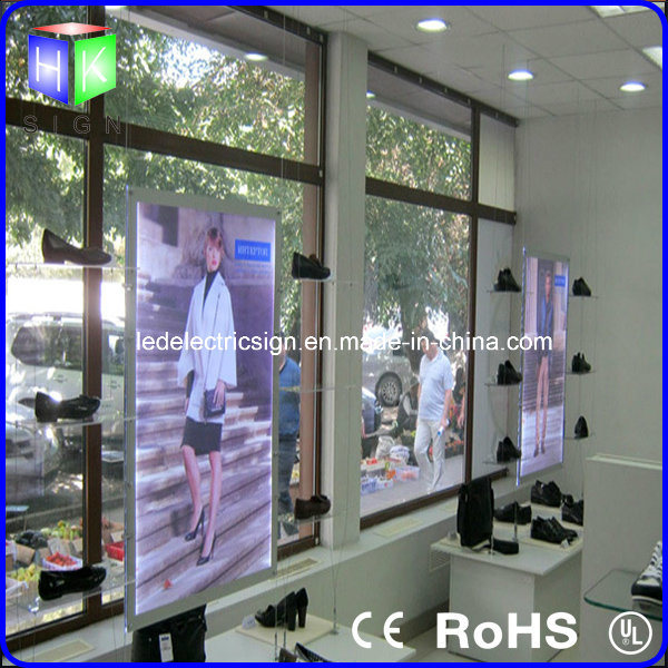 Real Estate Crystal Landscape LED Window Light Box with Portrate Hanging Sign
