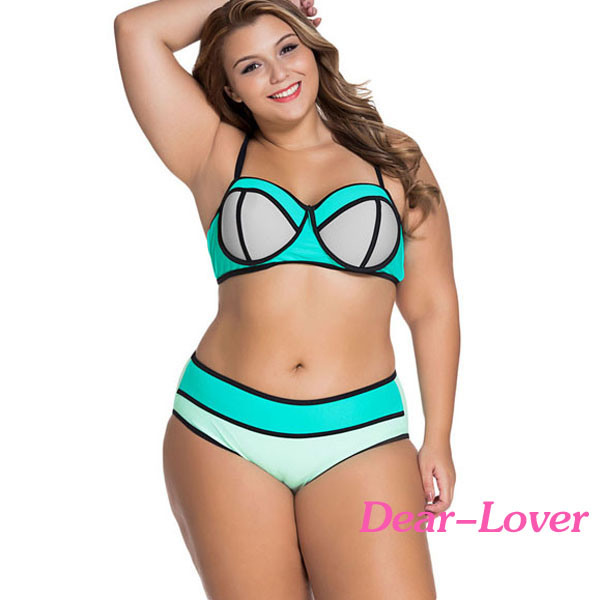 Colorful Vibrant Colorblock Plus Size Swimsuit