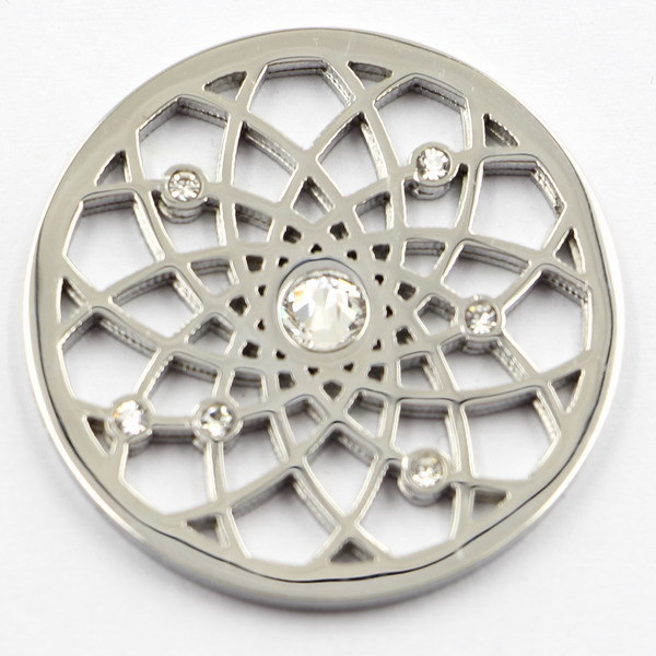 Silver Flower Coin Plate with White Crystal