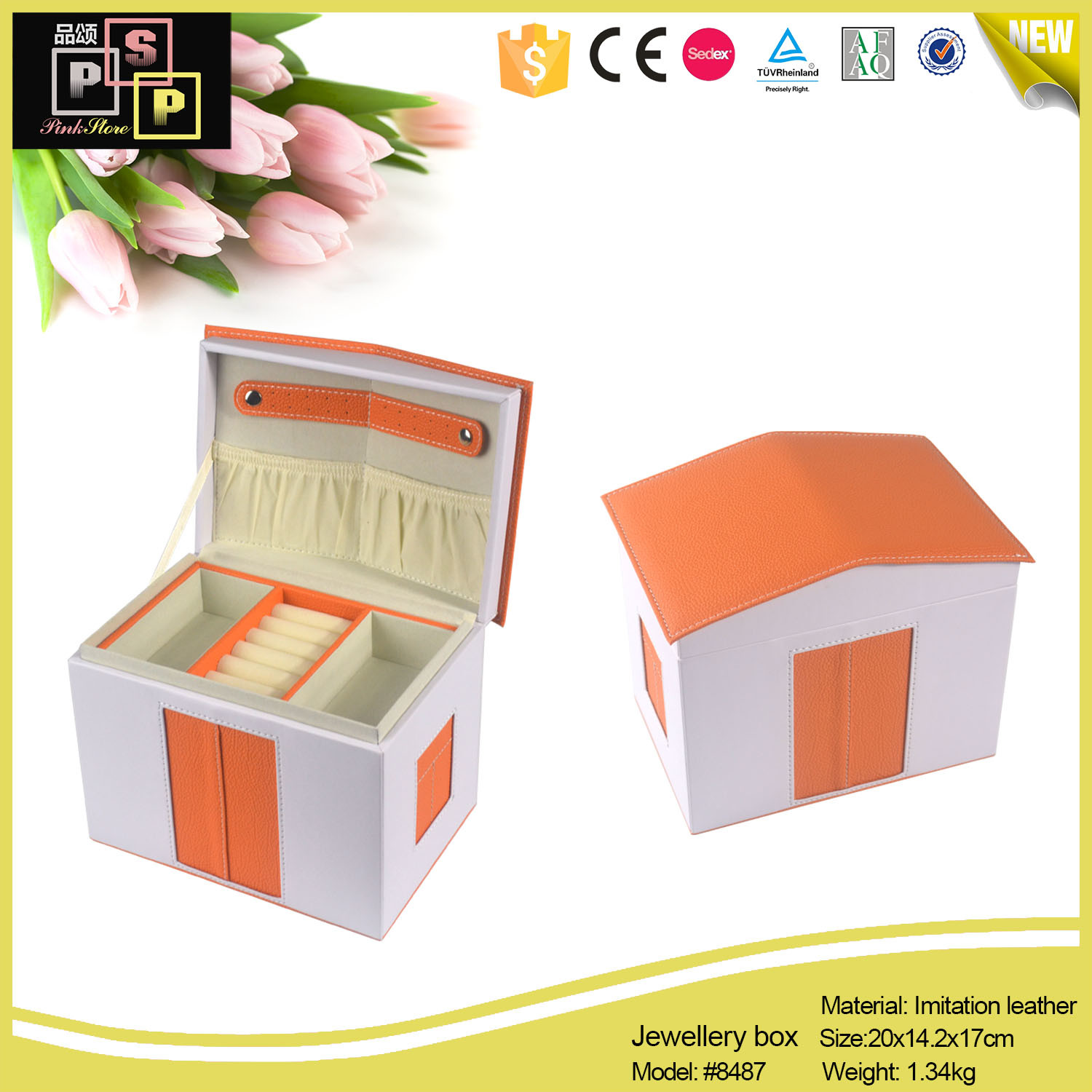 Leather Jewelry Paper Box, Custom Jewelry Boxes Packaging, Jewellery Safe Box (8487)
