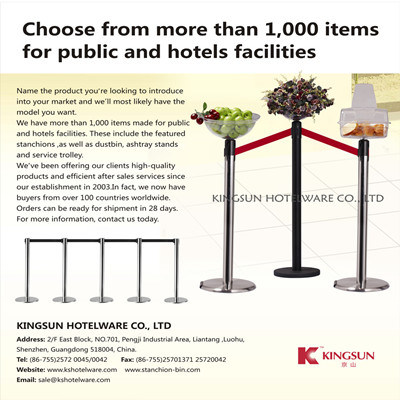 Waste Bins and Barrier Stanchions for Hotel Products