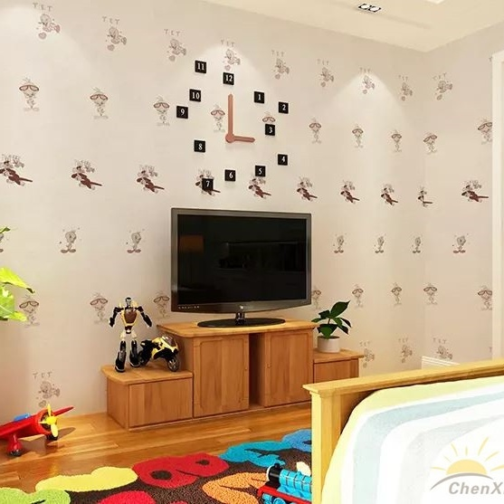 Seamless Modern Children Embossing Wallpaper Fabric Hotel Bedroom Livingroom Moisture-Proof