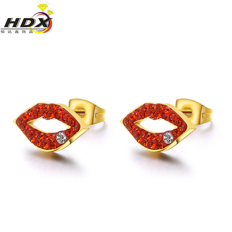 Fashion Jewelry Diamond Stainless Steel 18K Gold Stud Earrings