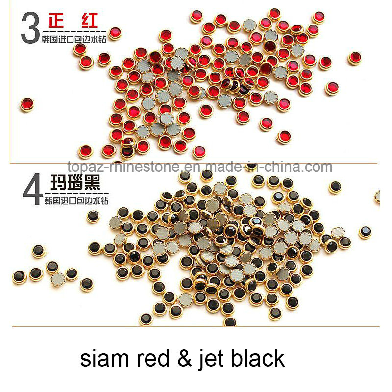 DMC Hotfix Rhinestone Ss16 4mm Black Aluminun Rim Hot Fix Stones with Glue for Dress (SS16 Jet/A Grade)