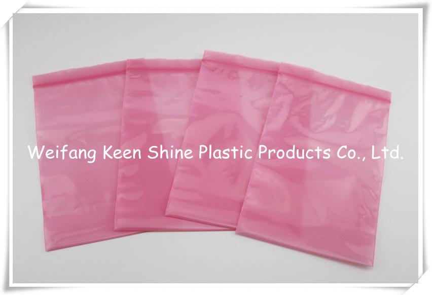 Pink Color Antistatic LDPE Ziplock Bag / Static PE Bag / Custom Printed ESD PE Bags