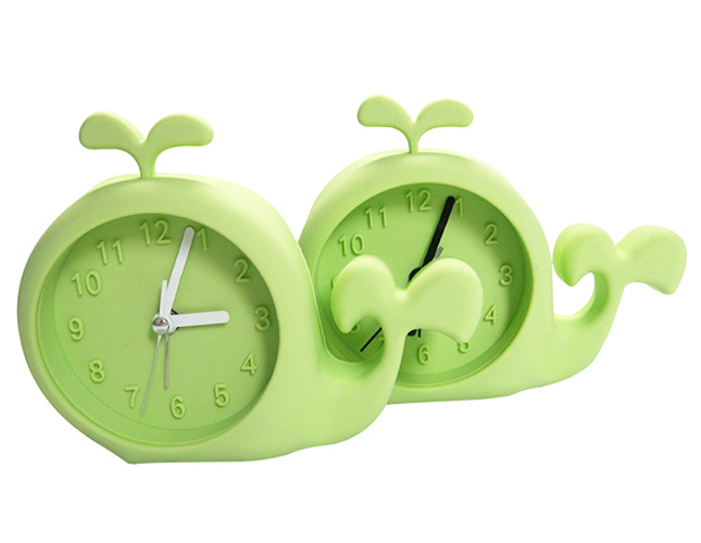 Kid′s Cute Cartoon Whale Shape Colorful Logo Printed Silicone Table Alarm Clocks