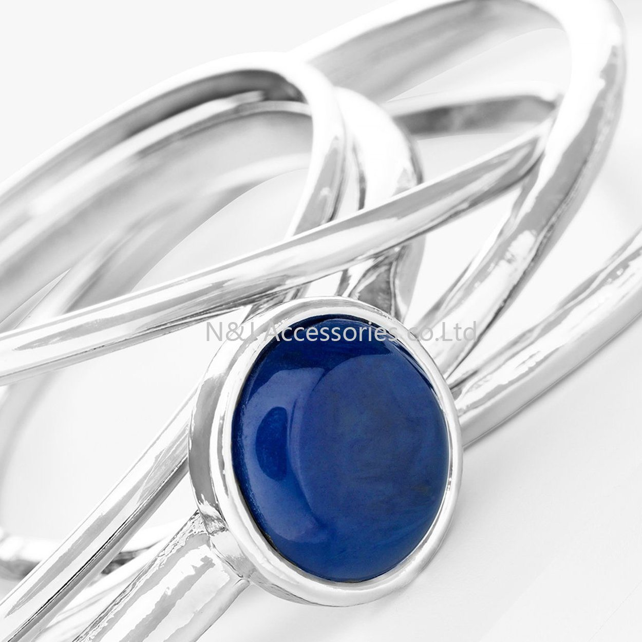 Fashion Silver Plated Blue Gemstone Bracelet Statement Bracelets Wholesale Jewelry for Women