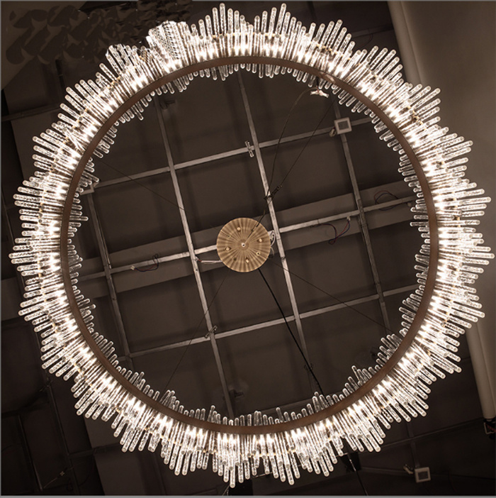 Latest Round Post Modern Style Brass Glass/ Crystal Pendant Lamp Chandelier with LED