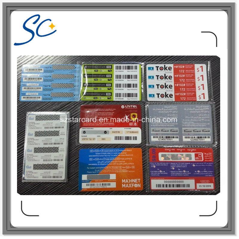 Free Sample Paper Custom Prepaid Scratch Card with 3in1/4in1/5in1