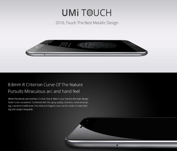 Umi Touch Smart Phone 4G FDD-Lte Android 6.0 5.5 Inch Fingerprint Gray