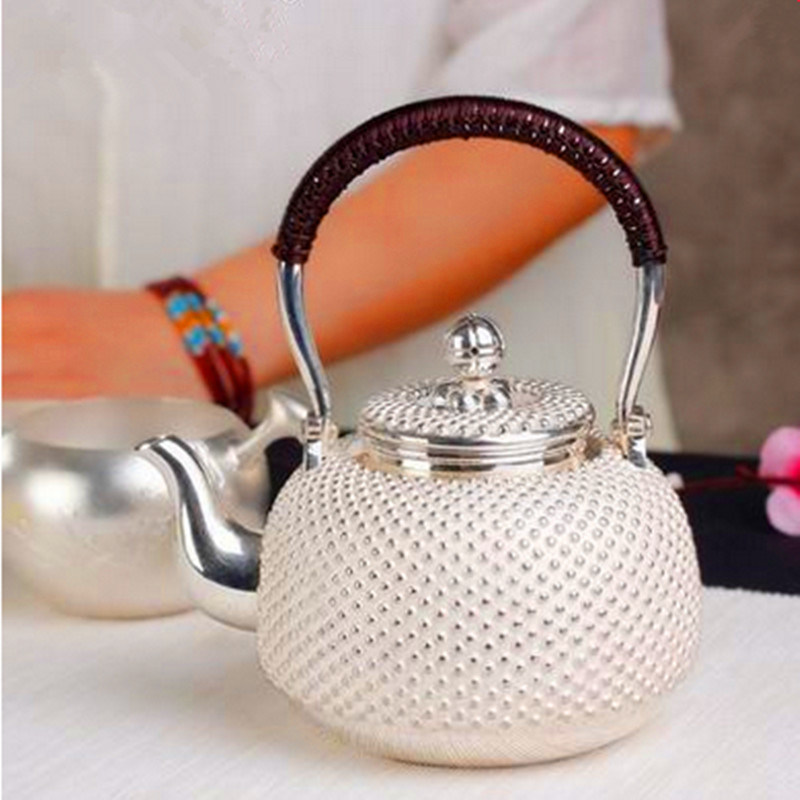 Sterling Silver Japanese Silver Pot Nails Silver Pot Teapot Kung Fu Tea Set by Hand