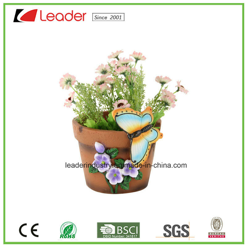 Garden Resin Bird Statue with Flower Pots for Home and Lawn Decoration