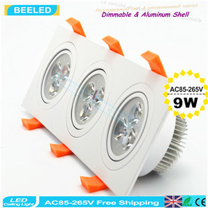 9W Cool White Square Aluminum High Power Dimmable LED Downlight