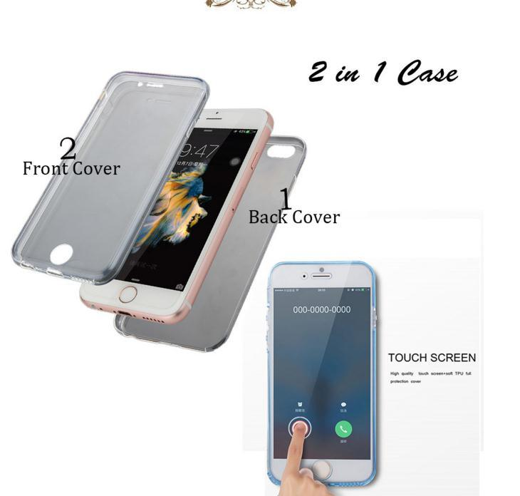 2 in 1 Thin Clear Soft TPU Front Case + Shockproof Back Cover for iPhone 6 6s 6 Plus 6s Plus 360 Degree Full Body Protect Cover (XSDD-078)