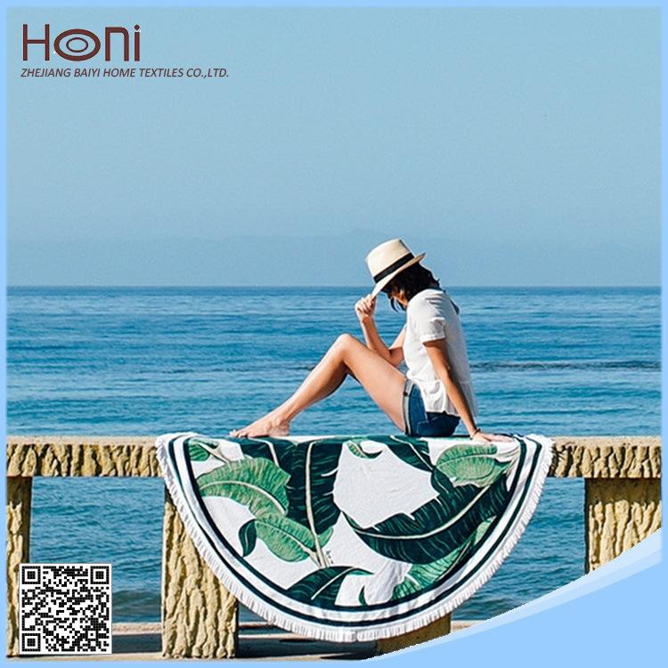 China Factory Price 100% Cotton Printed Round Beach Towel