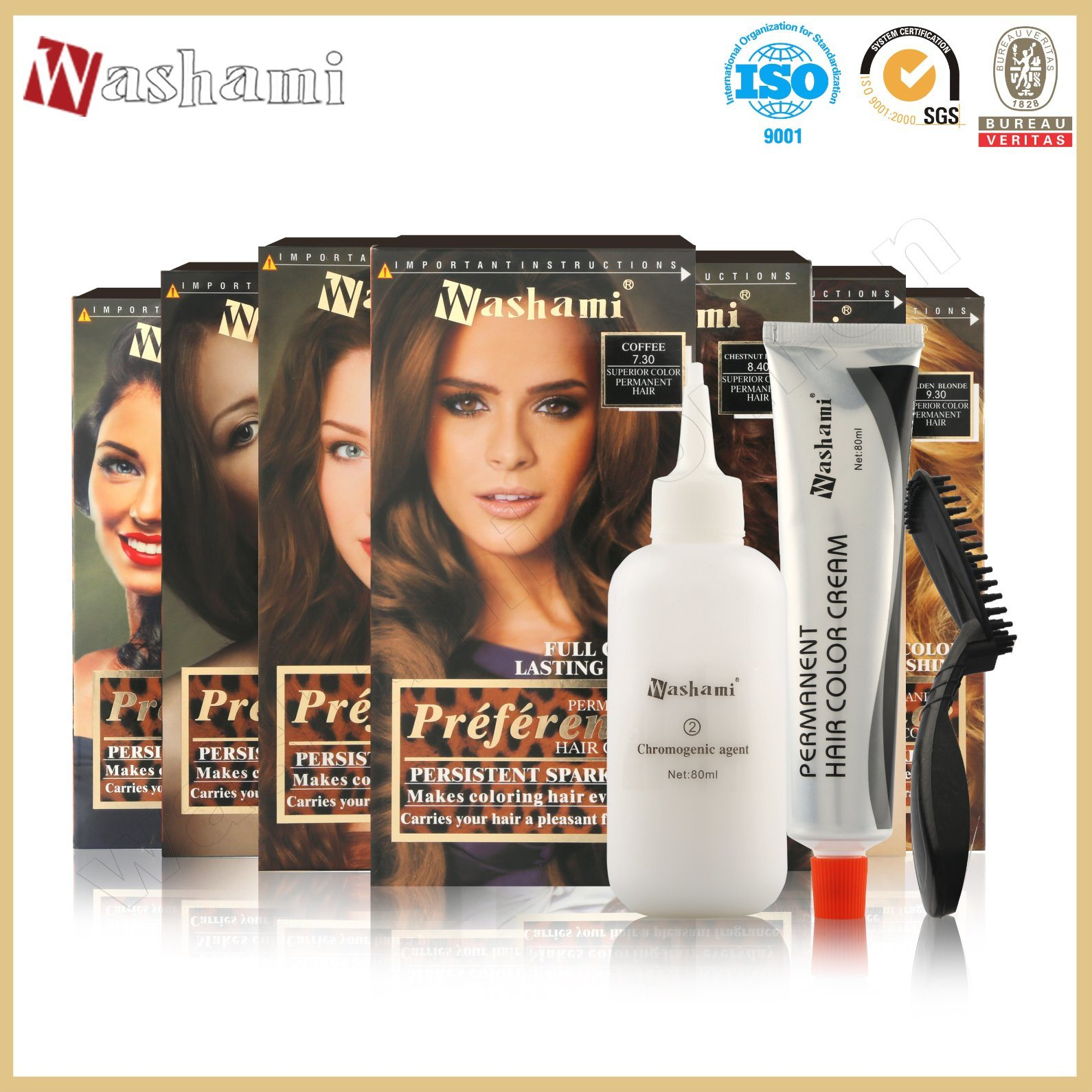 Washami Professional Dye Cream Permanent Hair Color