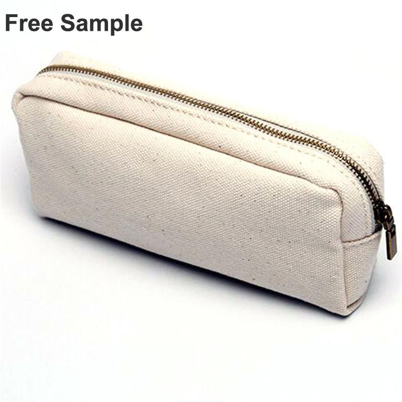 Promotional School Zippler Closure Canvas Cosmetic Bag Pencil Bag Pen Bag