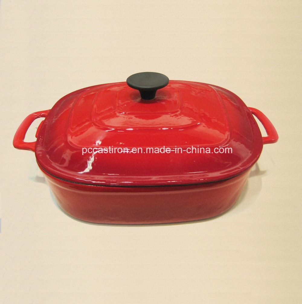 Hot Sale Red Enamel Cast Iron Braising Casserole Size 30X6cm
