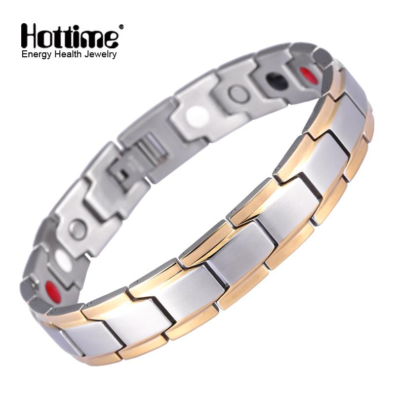 New Fashion Men′s Germanium Steel Bracelet for Men Health Bio Energy Power Antifatigue Jewelry (10143)