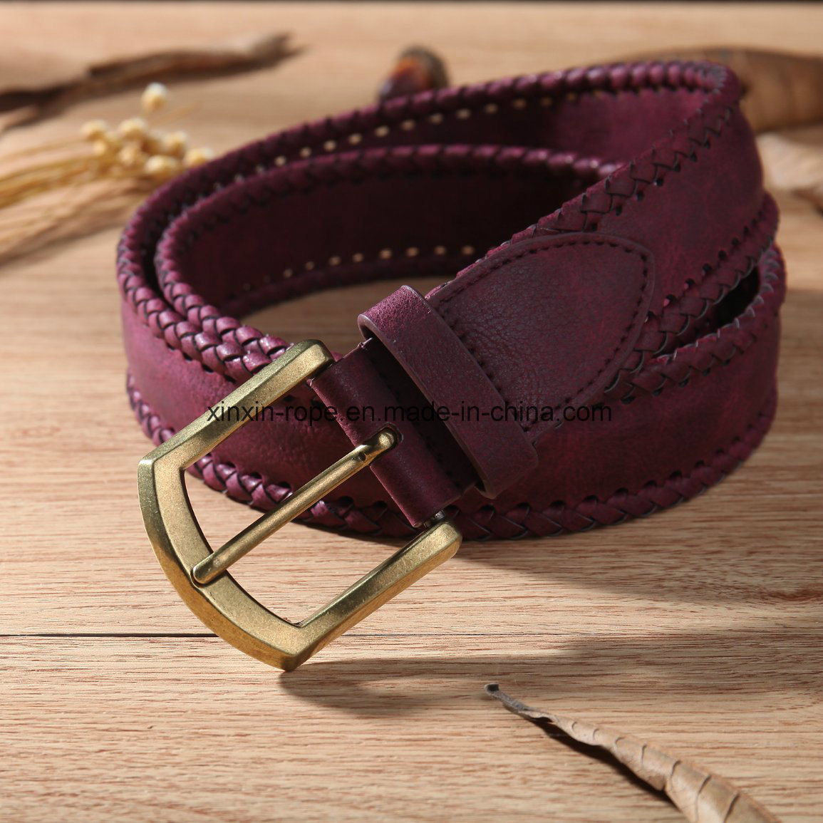 High Quality PU Leather Artificial Weaving Pin-Buckle Belt Hot Sale