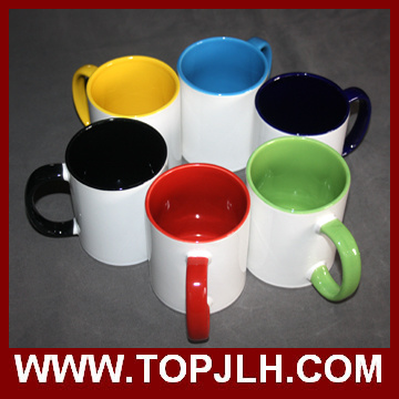 Wholesale Sublimation 11 Oz Double Colorful Ceramic Mugs