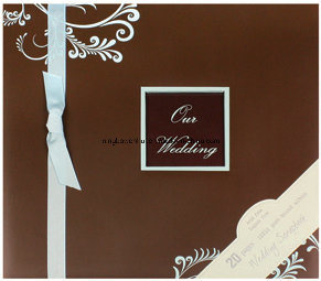 High Quality Wedding Scrapbook Album with Ribbon and Gemstone