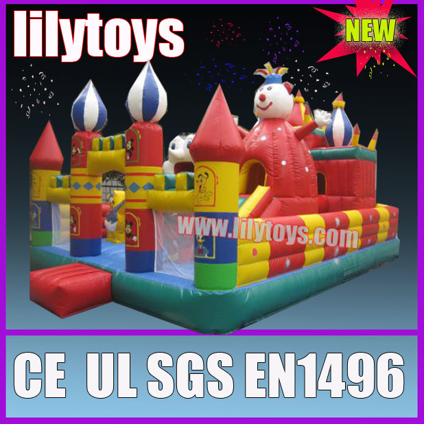 Children play inflatable jumping castle playground outdoor