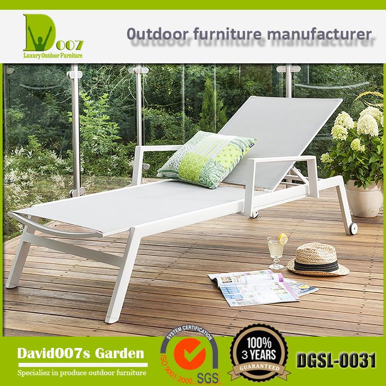 2017 New Design Outdoor Garden Patio Furniture Textilene Sun Lounger & Chaise Lounge
