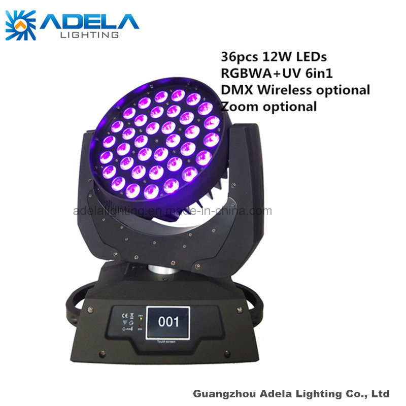 Zoom 36X12W 6in1 Wireless LED Moving Head Light