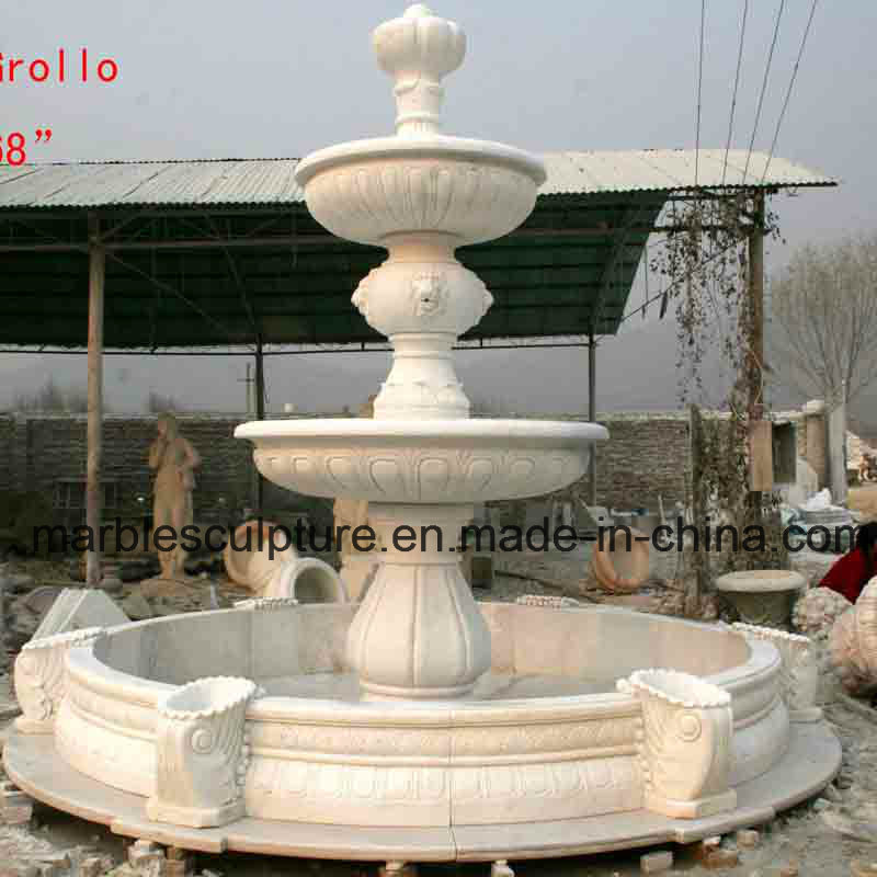 White Carrara Stone Sculpture Water Fountain (SY-F008)