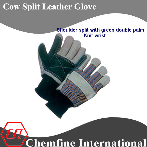 Shoulder Split with Green Double Palm, Knit Wrist Leather Work Gloves
