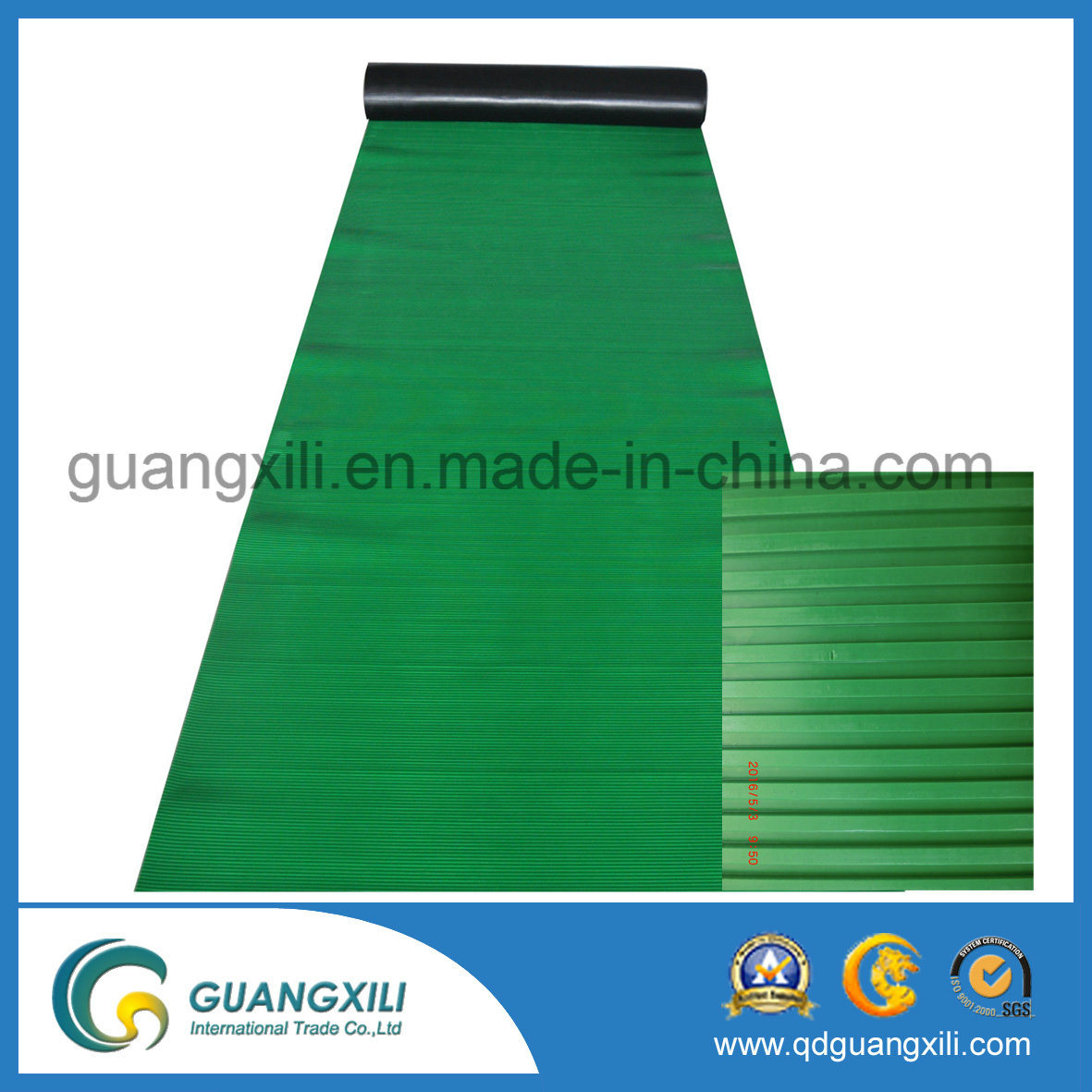 Anti Slip Fine Rib Rubber Green Rubber Sheet