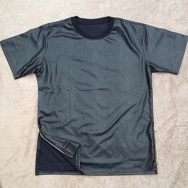 Ew Kanye West Fashion Hip-Hop Tee Black Snake Skin Side Zipper T-Shirt Hot