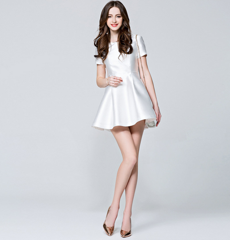 New Style Tube Short Sleeves Round Neck A-Line Princess Slim High-Waist Dress