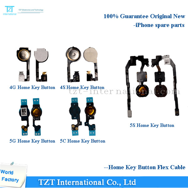 Mobile Phone Home Key Button Flex Cable for iPhone 4/5s/5c/5/6