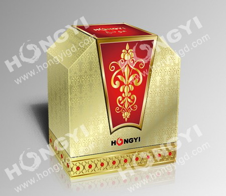 Gloden/Red MDF+Art Paper+Embossed Perfume Box for Gift Packaging (HYP020)
