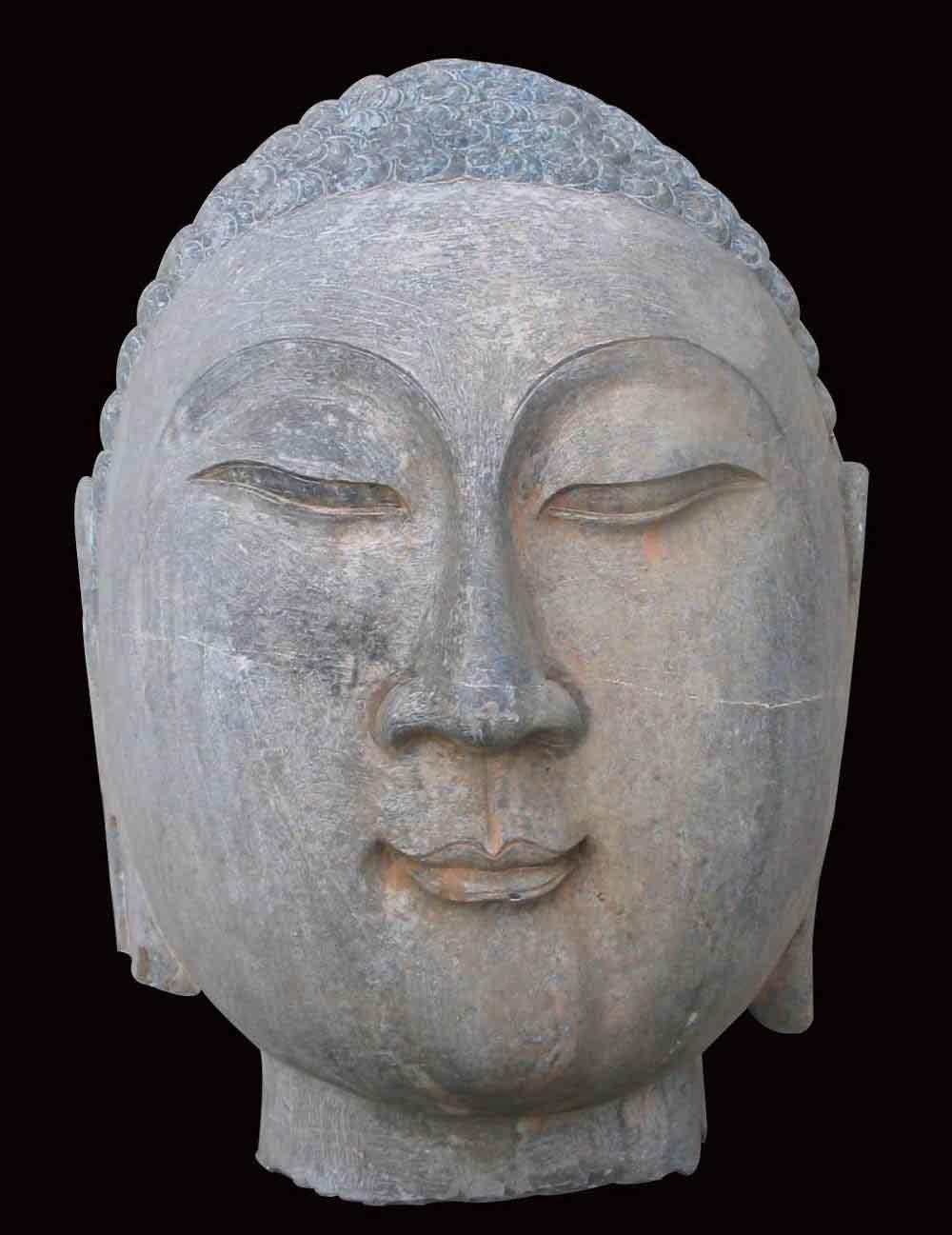 China stone carving buddha head sculpture
