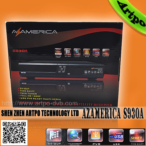 Original Az America S930A HD Receptor with Iks, Cccam, Newcamd, Mgcamd, Twin, Ssp for South America (Bolivia, Chile, Brazil) DVB S2 Settopbox Satellite Receiver