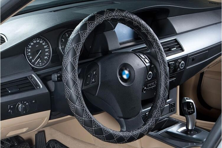 Car Steering Wheel Cover Ecological Leather-Red