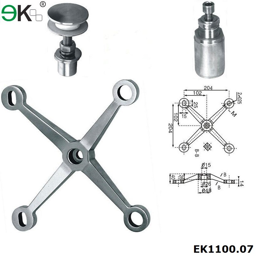 Stainless Steel 304 316 Glass Curtain Wall Four Arms Glass Spider Fitting