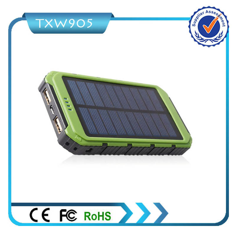 Dual USB Battery Charger External Backup Portable Solar Power Bank 10000mAh Power Bank for Cell Phone