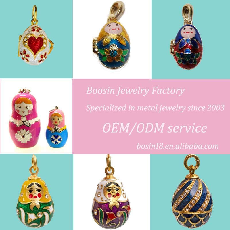 Custom Colorful Metal Russian Easter Egg Doll Pendant