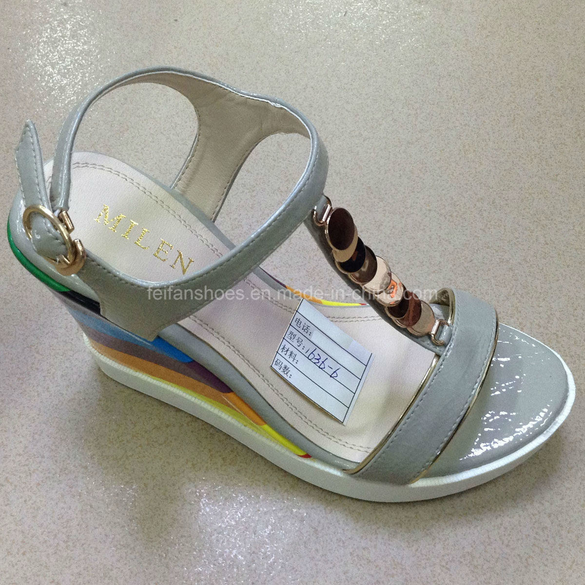 up-to -Date Good Quality Women PU Wedges Sandals (JH016 -6)