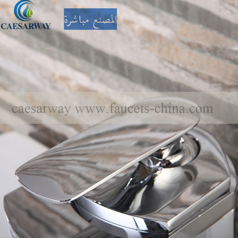 Stainless Steel Single Lever Basin Waterfall Mixer for Vanity