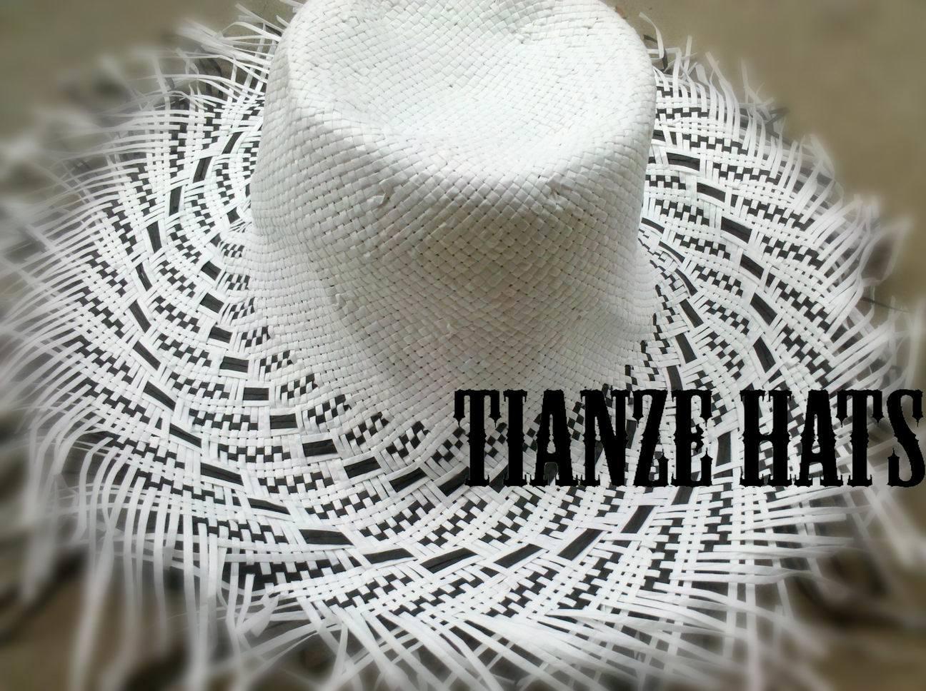 Black + White Paper Straw Hat Body