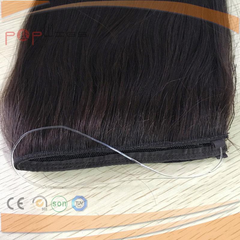 Human Hair Natural Black Color Loop Ring Line Halo Hair Extension